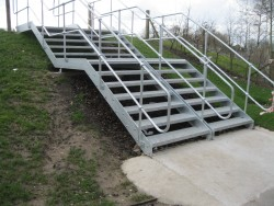 Galvanised steel stairs and handrail