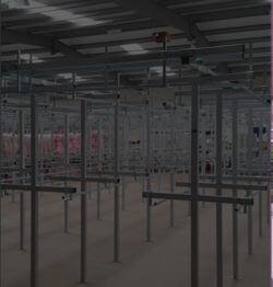 garment handling rails in warehouse
