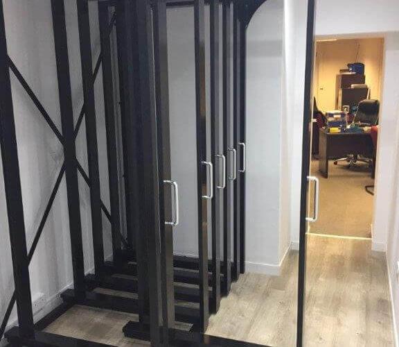 Door display rack for UPVC doors