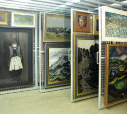 Oriel picture racking with loaded artwork